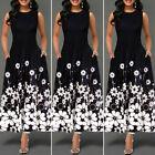 US Women Summer Vintage A-Line Dress Tunic Long Sleeveless Floral Print Sundress