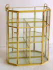 Lot of 2 Glass  Brass Small mirrored back Curio Display Cabinet