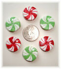 6PC CHRISTMAS PEPPERMINT CANDIES RED GREEN FLATBACK RESINS HAIRBOW BOW