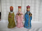 Vintage hand crafted Nativity Wisemen figures set of 3pc Japan 11