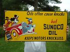 LARGE OUTDOOR RARE VINTAGE 1939 SUNOCO OIL PORCELAIN OIL & GAS SIGN