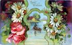 Old GEL Best Wishes Postcard BOWER OF DAISIES  ROSES LAKE CANOE GOLD Germany