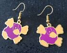 Beanie Baby Funky Platypus Retro Vintage Charm Earrings - Gold Plated Ear Wires