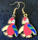 Beanie Baby Funky Parrot Retro Vintage Charm Earrings - Gold Plated Ear Wires