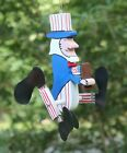 Uncle Sam w flag Mini Whirligigs Whirligig Yard Art Hand made from wood