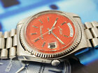 NICE MIDO COMMANDER MODEL 8223 AUTOMATIC SWISS MADE WATCH RED / ORANGE DIAL.