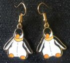 Beanie Baby Retro Penguin Vintage  Charm Earrings - Gold Plated Ear Wires