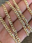 Mens Diamond Cut 5mm Cuban Chain 14k Gold Over Solid 925 Silver Two Tone ITALY