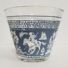 Vintage Jeannette Hellenic Ice Bucket Wedgwood Blue Jasperware Glass 5