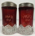 EAPG McKee Flash Ruby Glass Heart Band Souvenir Salt Pepper Shakers Mother 1903