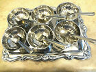 Vintage Set of 6 Stainless Steel Ice Cream Dessert Bowls with Tray and Spoons