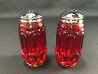 LE Smith Stars and Moon Amberina Glass Salt  Pepper Shakers Vintage EUC