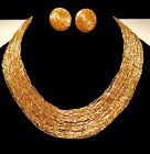 VINTAGE MURANO GLASS LIQUID GOLD 60 STRAND NECKLACE COLLAR 18 INCH W EARRINGS