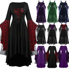 Women'Halloween Gothic Lace Up Dress Medieval Witch Party Costume Dress New