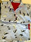 NICK  NORA WOMENS FLANNEL PAJAMAS SIZE L Large PENGUINS IN SNOW SHOES