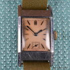 OMEGA 1930s RECTANGULAR 18MM MANUAL WINDING STAINLESS STEEL BLUED HANDS DECO