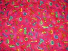 CATS AND DOGS HOT PINK FLANNEL KID STUFF KIDS COLORBOX FABRIC 3 YARDS