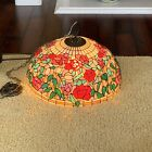 Tiffany Reproduction Hanging Lamp Shade 22 Red Pink Roses Green Stained Glass