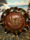 FENTON EBONY CARNIVAL BUTTERFLY  TULIPS BOWL LANDMARK COLLECTION 2005