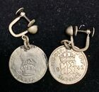 Vintage Sterling Silver Great Britain Sixpence Earrings 6p British UK COINS OLD