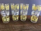 VINTAGE TOM COLLINS GLASSES YELLOW WHITE LEAVES SET OF 4 LIBBEY GLASSES