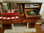 Retro vintage style cabinet with mini bar radio 8 track and record player