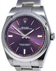 Rolex Oyster Perpetual Stainless Steel Red Grape Dial Mens 39mm Watch 114300