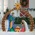 Christmas Nativity Scene Lighted Outdoor Yard Decoration 4 Piece Metal Set LED
