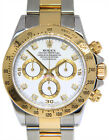 Rolex Daytona 18k Yellow Gold & Steel White Diamond Dial Mens 40mm Watch 116523