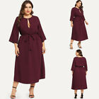 Plus Size Women Long Sleeve Midi Dresses Ladies Casual Loose Dress Party Holiday