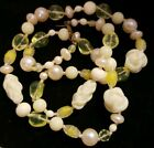 Miriam Haskell Necklace Light Yellow Lime Green Cream Glass Beaded 28