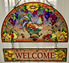 AMIA ROOSTER 11x12 WELCOME GLASS ART PANEL SUNCATCHER ROOSTER FLOWERS FRUIT