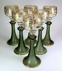 6 ANTIQUE BOHEMIAN 8 TALL ENAMELED WINE STEMS GOLD  WHITE FLORAL BEAUTIFUL
