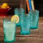 Colored Glass Tumblers Vintage Drinking Glasses 16 Ounce Emboss Tumbler Set of 4