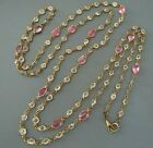 ANTIQUE VICTORIAN PINK GLASS  OPEN BACK CRYSTAL SAUTOIR NECKLACE 60 INCH LONG