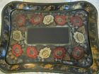 Lrg Hand Painted Red  Gold Roses Vintage Black Curved Tole Serving Buffet Tray