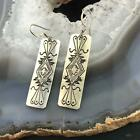 Native American Sterling Silver Stamped Dangle Earrings For Women
