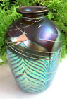 STUNNING SIGNED CORREIA ART GLASS VASE WITH PULLED FEATHER AND THREADING