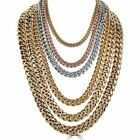 Mens Miami Cuban Link Chain Gold Plated Stainless Steel 8 18mm Yellow Rose White