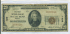 1929 T 1 20 National Bank Note Ch 126 FIRST NB SOUTH BEND INDIANA