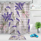 Rustic Wooden Boards Purple Lavender Butterfly Shower Curtain Set Bathroom Decor