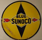 VINTAGE SUNOCO BLUE GASOLINE PORCELAIN GAS SERVICE STATION PUMP PLATE AD SIGN
