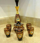 Vintage Venetian Murano Decanter Five Glasses Lidded Sugar Bowl