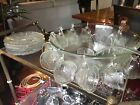 Indiana Glass Clear Pebble Leaf Punch Bowl, 11 Cups, 11 Hooks, Ladle, 6 Plates