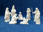 VTG Avon WHITE NATIVITY SET 9 pcs Holy Family Wise Men Kings Shepherds 1980s