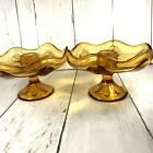 Vintage Glass Amber Candlestick Holders Footed Scalloped