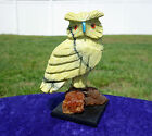 Green JADE OWL Carving Fetish Crystal on Calcite with a Turquoise Beak