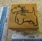 SCOTTY DOG WITH A BOW MW RUBBER STAMP PARKED ON RUBBER