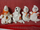 BEANIE BABIES HALLOWEEN LOT OF 4 - GHOULISH -  SHEETS - SPOOKY (2) MINT