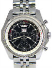 Breitling Bentley Chronograph Steel Black Dial Mens 48mm Watch Box/Papers A44362